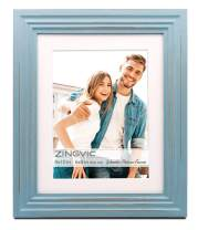 8x10 inch Turquoise Blue Wood Picture Frame with mat | Display Photo 6x8 inch or 8 by 10 Without Mat | Distressed Design | Wide Molding | Portrait and Landscape View | Stand on Desktop or Wall Hanging