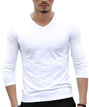 Aishang Men's V Neck Tee Long Sleeve Body Plain T Shirts Soft Underwear Tops