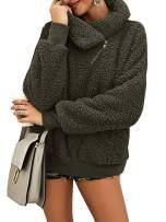 Valphsio Womens Fleece Outwear Zipper Cowl Neck Fuzzy Pullover Sweatshirt with Pocket