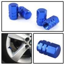 iJDMTOY (4) Tuner Racing Style Blue Aluminum Tire Valve Caps (Hexagon Shape)