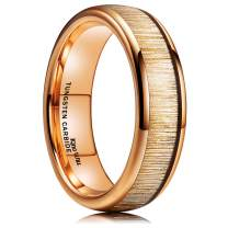 King Will Mens 6mm/8mm Tungsten Carbide Wedding Ring Black/Rose Gold Plated Comfort Fit Engagement Band Beveled Edge/Domed Style