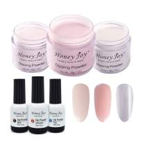 6 in 1 Dip Nail Kit Starter,Base Colors Clear Pink Natural Pink Clear,Dipping Powder 1 oz/Box x 3,Base Top Coat Activator 15ml/Bottle x 3, Acrylic Dipping System for French Nail Manicure, CP-NP-Clear