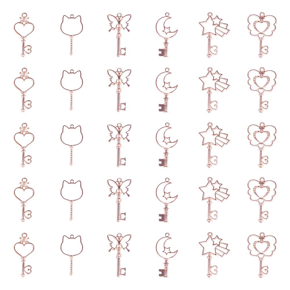 OLYCRAFT 30pcs Key Theme Open Bezel Charms 6-Style Alloy Frame Pendants Color-Lasting Hollow Resin Frames with Loop for Resin Jewelry Making - Rose Gold