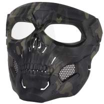Senmortar Airsoft Mask Paintball Masks with PC Lens Full Face Skull Masks Tactical Protective Gear for Halloween Paintball Cosplay Party BBS Gun Shooting Game Black Black & CP Tan Green
