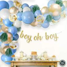Sweet Baby Co. Boy Baby Shower Blue Balloon Garland Arch Kit for Boy with Greenery Leaves Decorations, Oh Boy Banner, Confetti, Metallic Gold, White, and Baby Blue Balloons | Elephant Party Decoration