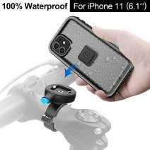 Quick Bike Mount iPhone 11 case - Metal Bicycle Motorcycle Handlebar Mounts Kit with Sturdy Grip for iPhone 11 Waterproof Lock case-Black