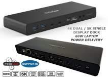 MEDIAGEAR 60W Power Delivery USB C Dual 4K Ultra Docking Station: Single 5K@60Hz/Dual 4K @60HZ 2 HDMI+2 DisplayPort, 6 USB 3.0, Ethernet, Audio Mic Compatible w/Mac & Windows OS + Thunderbolt 3