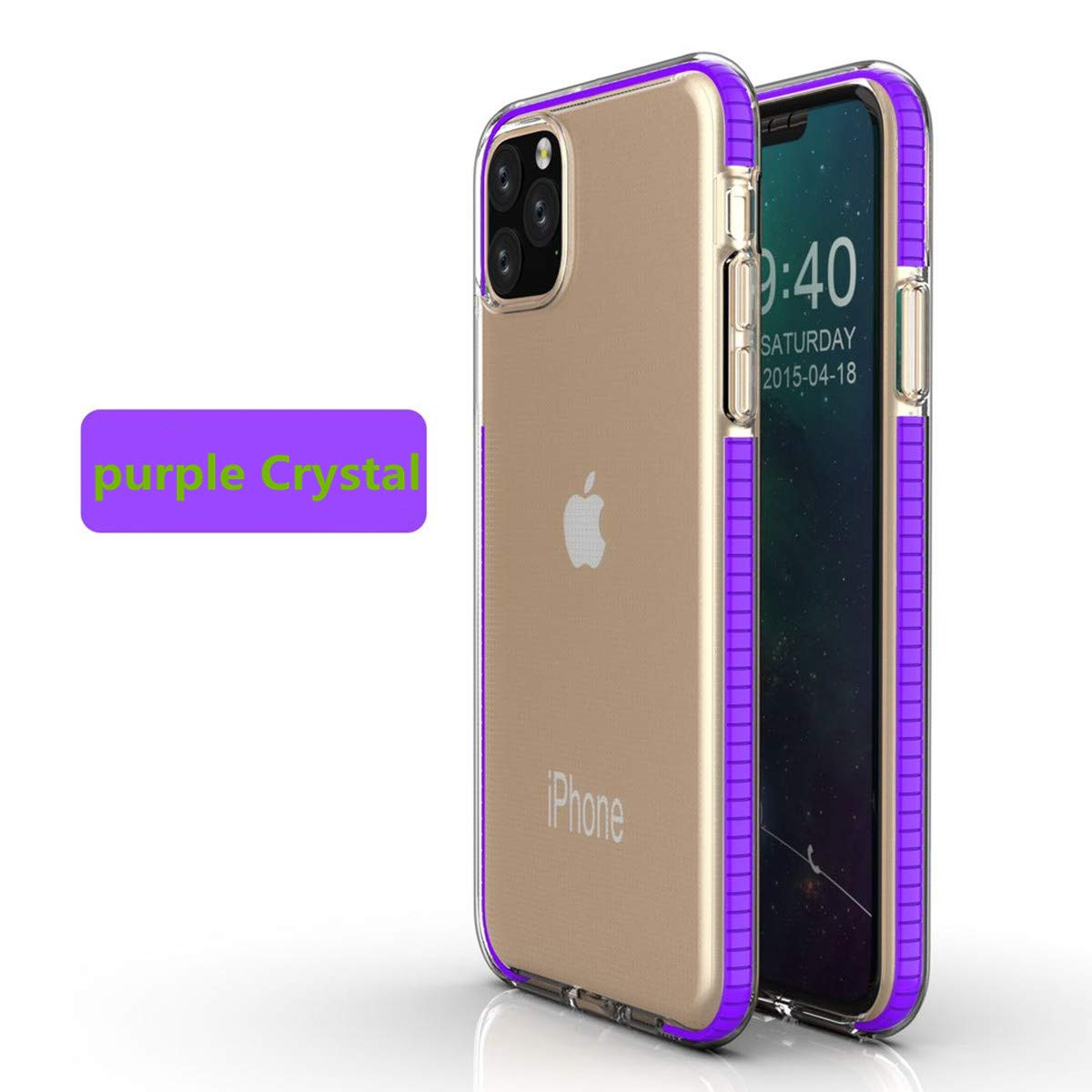 LucaSng Compatible with iPhone 11 Case, Clear iPhone 11 Cases Cover for iPhone 11 6.1 Inch Crystal Clear Case Shockproof Protection Soft Scratch-Resistant TPU Cover (Purple)