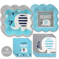 Big Dot of Happiness Blue Elephant - Boy Baby Shower or Birthday Party Tableware Plates and Napkins - Bundle for 16
