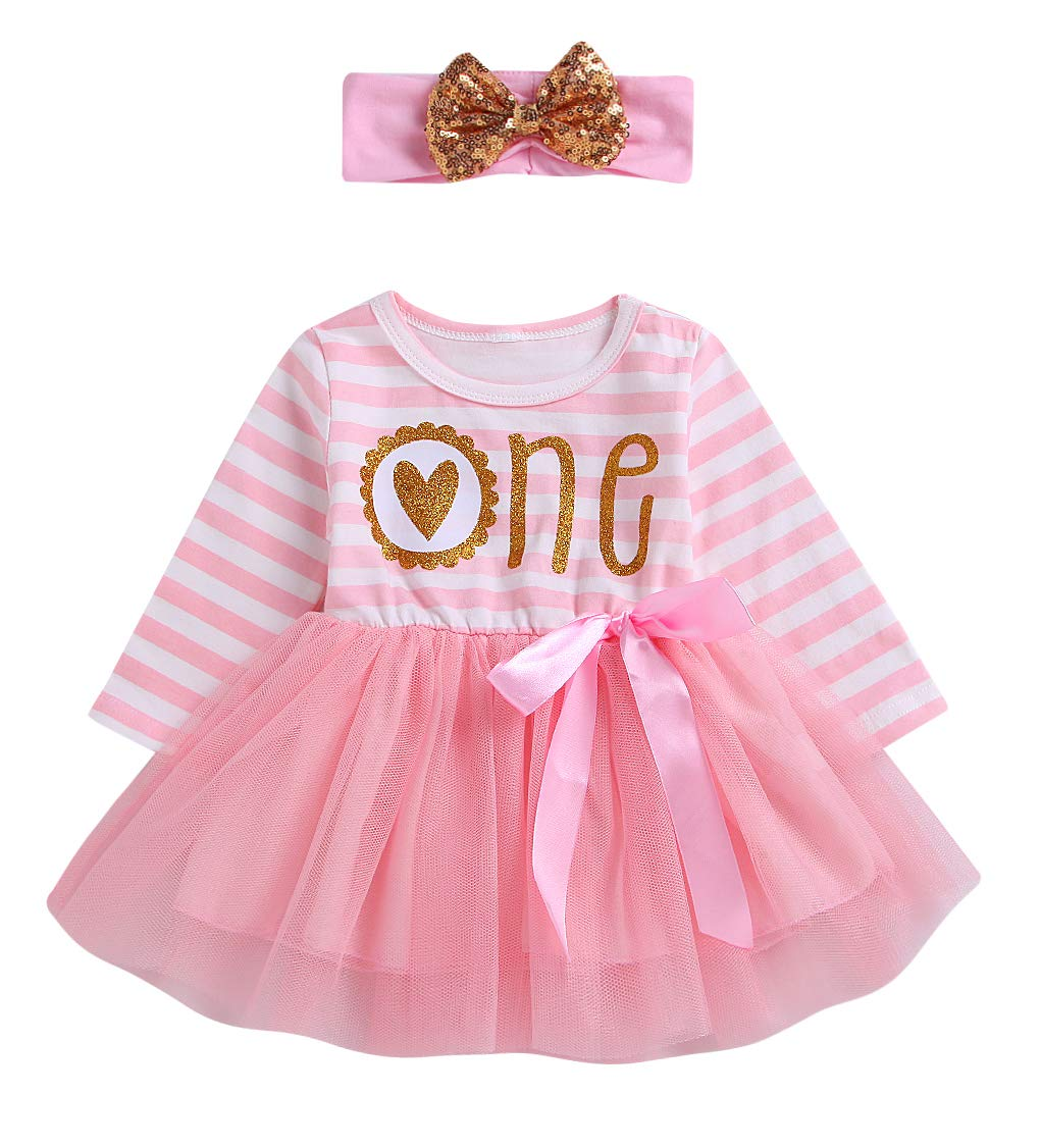 Newborn Baby Girls Pink Striped Tutu Dress First Birthday Skirt Outfits Casual Donut Print Girls Clothes Headband 2Pcs Set