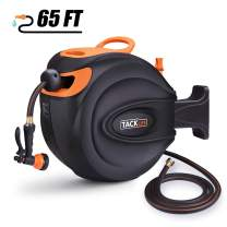 """TACKLIFE Hose Reel, 5/8"""" 65+7 FT Garden Water Hose Reel, Auto Rewind, PVC Hose, Discretionary Lock, Wall Mounted, Rotate 180° for Garden Watering and Car Washing"""