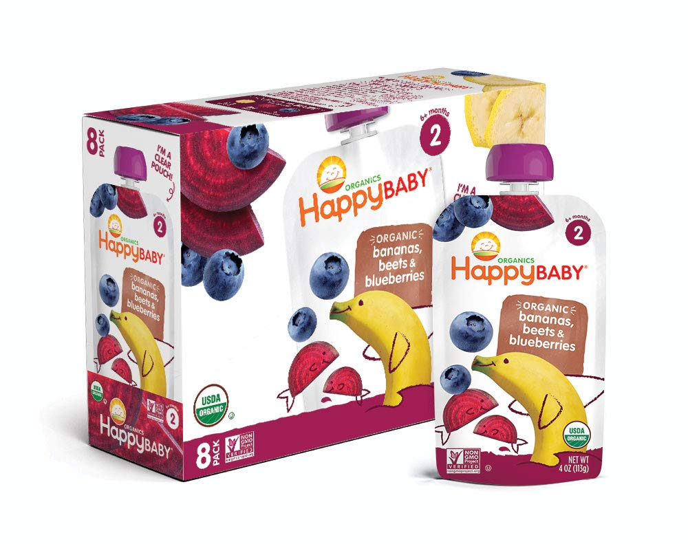 Happy Baby Organic Stage 2 Baby Food Simple Combos Bananas Beets & Blueberries, 4 Ounce Pouch (Pack of 16) Resealable Baby Food Pouches, Fruit & Veggie Puree, Organic Non-GMO Gluten Free Kosher