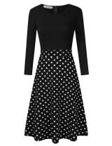 Leadingstar Women's Polka Dots Print Casual Party Dress
