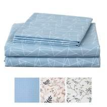 JSD KOMFOR Geometric Pattern Sheet Set King Print Bed Sheets Set 4 Piece Ultra Soft Warm Double Brushed Microfiber Deep Pocket Hotel Quality Bedding Sheets