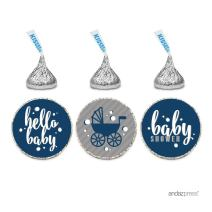 Andaz Press Chocolate Drop Labels Trio, Boy Baby Shower, Hello Baby!, Navy Blue, 216-Pack, Fits Hershey's Kisses Party Favors, Decor, Decorations