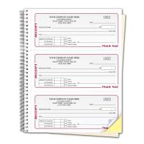 CheckSimple Gray Cash Receipt Books, 3-to-a-Page w/Duplicates, Wire-Bound Book (2000 Receipts)