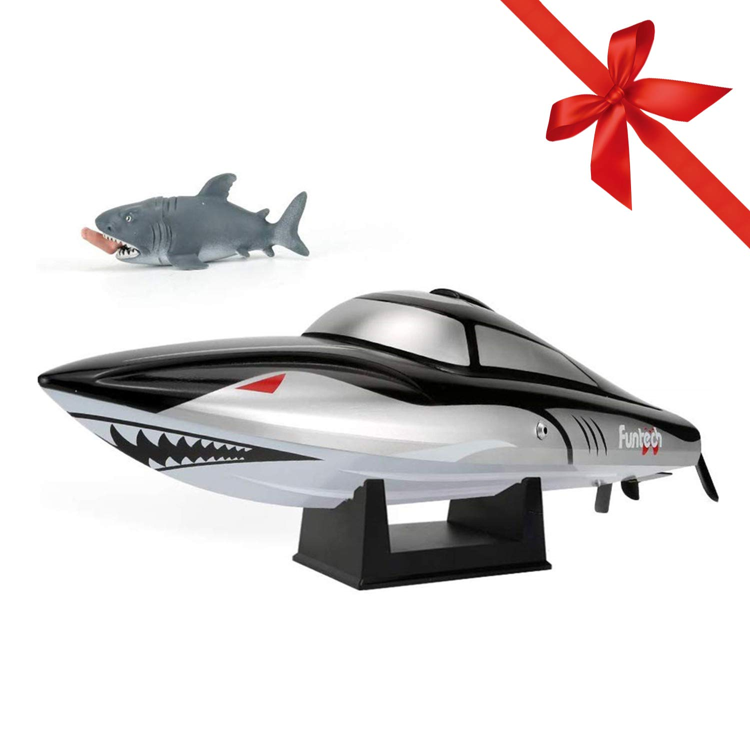 FUNTECH Shark RC Boat for Kids Adults - Remote Control Boats for Pools and Lakes, 25 mph High Speed RC Boats with Reverse Function & Capsize Recovery, a Must for Outdoor Adventure