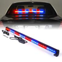"Xprite 35.5"" Inch 32 LED Strobe Emergency Traffic Advisor Warning Light Bar w/ 13 Flashing Patterns for Firefighter Vehicles Trucks Cars - Red Mix Blue"
