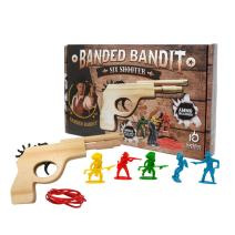 Banded Bandit Six Shooter Rubber Band Gun Set w/ Targets & Ammo | Precision Laser Cut Novelty Wooden Toy Pistol Shoot 6 Rounds in Semi Automatic Rapid Fire Succession for Kids Ages 5+