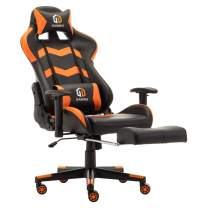 Gaming Chair Racing Office Chair Computer Desk Chair Executive and Ergonomic Reclining Swivel Chair with Headrest, Lumbar Cushion and Retractable Footrest (Orange)