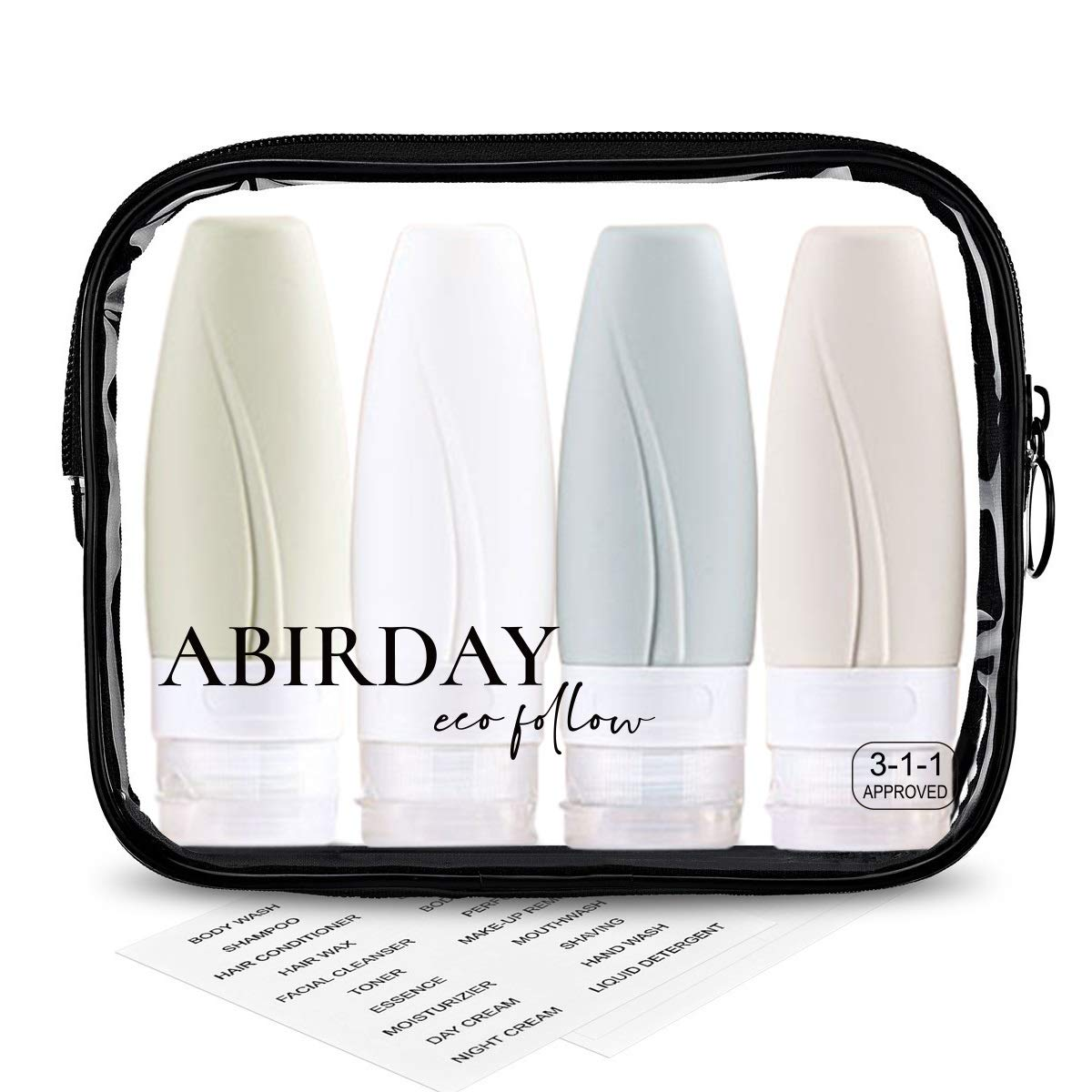 Travel Bottles Containers & Travel Size Toiletries TSA Approved & Leak Proof Travel Accessories Tubes Kit with Clear Quart Toiletry Bag for Liquids Carry-On Luggage Set for Women/Men (SET-C 2OZ/60ML)