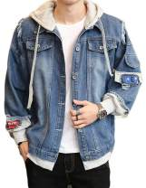 Lavnis Men's Denim Hooded Jacket Casual Button Down Ripped Jeans Jacket Coat Outwear
