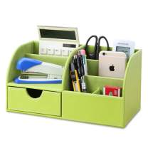 KINGFOM Office Desk Organizer - Multifunctional PU Leather Desktop Storage Box - Business Card/Pen/Pencil/Mobile Phone/Stationery Holder (Half PU-Green)