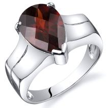 Peora Garnet Ring in Sterling Silver, Large Solitaire Pear Shape, 12x8mm, 3.50 Carats, Comfort Fit, Sizes 5 to 9