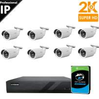 CTVISION 5MP (2.5X1080P) Home Business Security Camera Systems,8-Channel PoE Video Security System(2TB HDD),8pcs 5MP Outdoor Weatherproof Nightvision 90° Viewing Angle Bullet PoE IP Security Camera