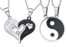 Couple Necklace Pendant Yin Yang Love Heart CZ Puzzle Matching Couple Gift for Him and Her