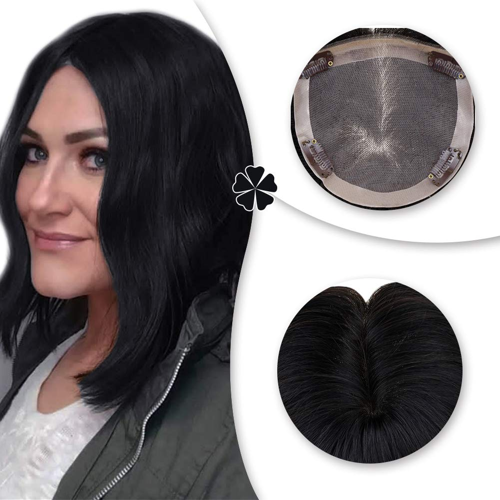 Hetto Mono Hairpiece Real Remy Hair for Thick Hair 20Inch #4 Dark Brown Crown Topper Hair Piece for Women 13x13cm