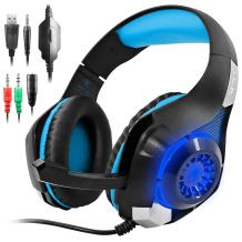 GM-1 Headphones Compatible PS4 Pro PC Tablet Cellphone,AFUNTA Stereo LED Backlit Gaming Headset with Mic-Blue