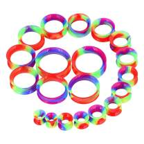 """Longbeauty 20pcs Tunnels Kit 2g-1"""" Silicone Ear Skin Gauges Plugs Ear Expander Stretching Set"""