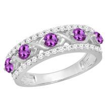 Dazzlingrock Collection 14K Round Gemstone & White Diamond Ladies Vintage Wedding Band, White Gold