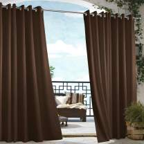 "Dream Art Outdoor Waterproof Patio Curtains Drapes Canopy Gazebo Privacy Water & Wind Repellent Courtyard Exterior Blackout Shade for Porch (54""x 108"", Chocolate) …"