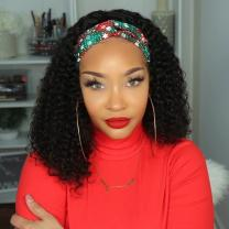 180 Density Headband Wigs for Black Women Deep Wave Brazilian Virgin Human Hair Wig Curly Machine Made None Lace Wigs with Own Hairline NC 18inches