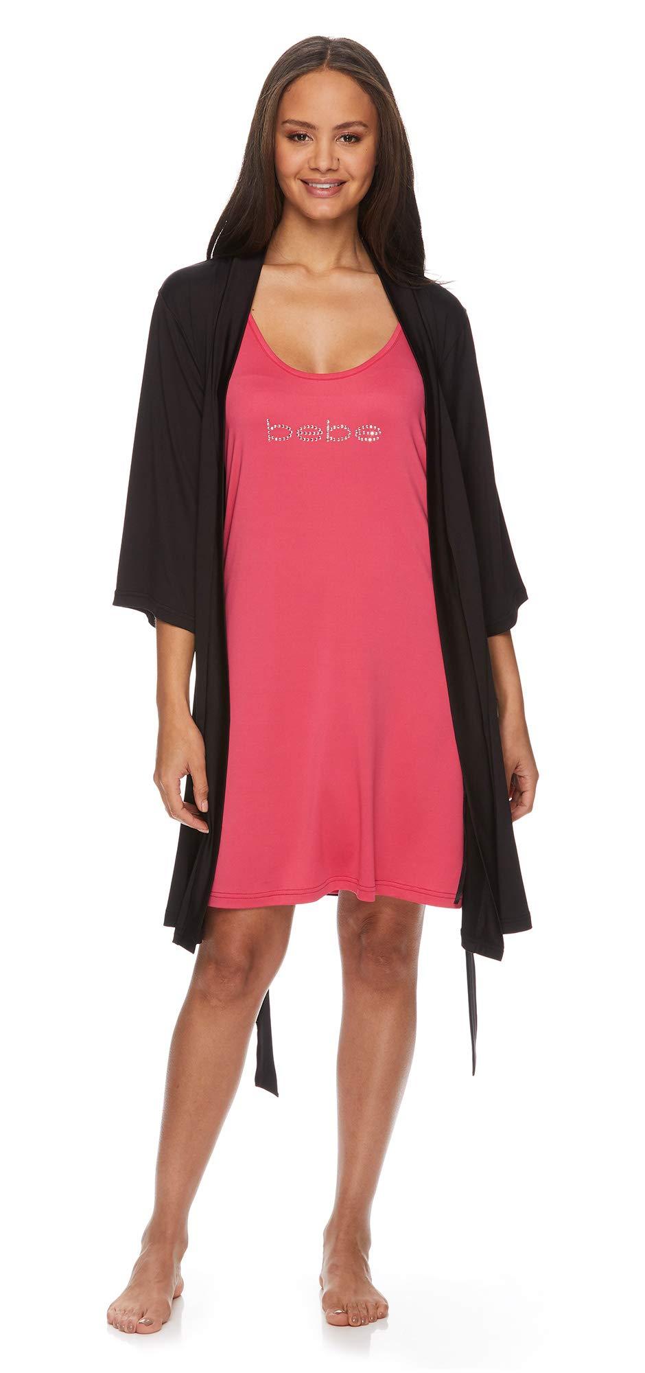 bebe Womens Nightgowns Lace Trim Chemise Lounge & Belted Wrap Pajama Robe Sleepwear Set