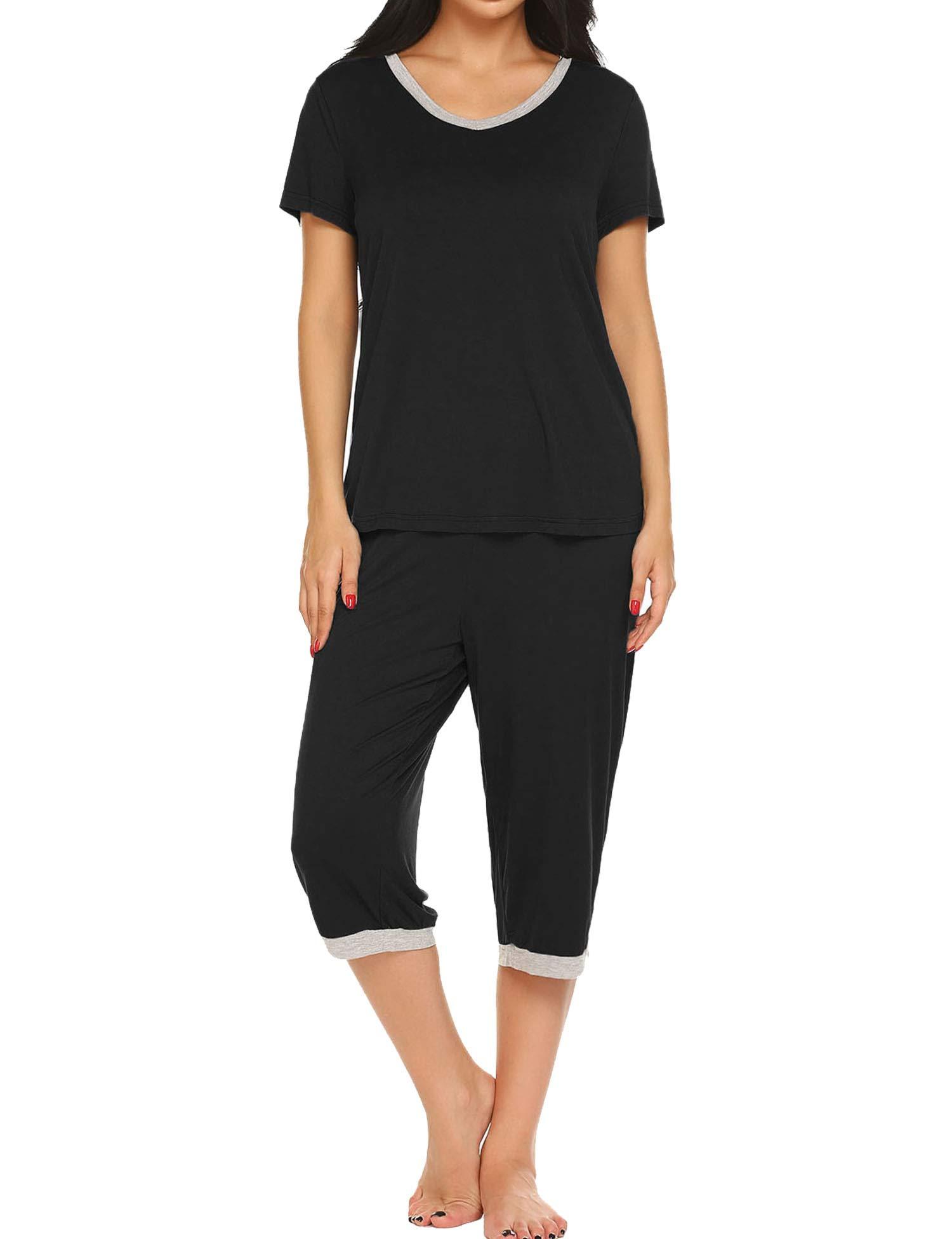Ekouaer Pajama Set for Women Short Sleeve Tops & Capri Pants Sleepwear Comfy Loungewear S-XXL