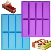 8 Cavity Large Rectangle Silicone Mold,Sonku 2 Pcs Energy Bar Maker Baking Pan for Chocolate Truffles Muffin Bread Brownie Cornbread Cheesecake Pudding Cake-Blue,Purple
