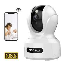 SANSCO 2MP 1920x1080p Indoor Wireless Security Camera Home Monitor WiFi Camera for Pet/Baby Surveillance IP Camera with IR Night Vision, Motion Detection Push Alerts and Two-Way Audio (White)