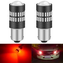 KATUR 2 X 1200 Lumens Super Bright 1156 1003 1141 7506 BA15S LED Bulbs 4014 48-EX Chipsets with Projector for Tail Lights Brake Lights Turn Signal Lights, Brilliant Red 9-30V