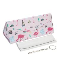 MITIME Lovely Foldable Glasses Case Magnet Closure -Multi color glasses box myopic glasses box + Extra clean cloth + tools (Flamingo)