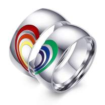 Aeici 8MM LGBT Pride Flag Couple Rings for Gay Lesbian Rainbow Matching Heart Wedding Bands