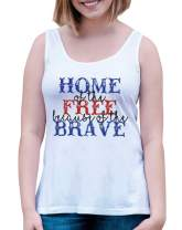 7 ate 9 Apparel Women's Home of The Free 4th of July White Tank Top