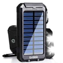 Solar Power Bank 10000mAh Solar Charger Waterproof Portable External Battery USB Charger Built in LED Light with Compass for All Smartphone Android Cellphones