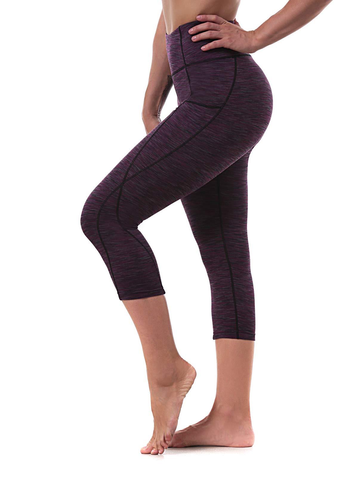 Ritiriko Women's Yoga Pants High Waisted Workout Running Leggings Tummy Control Yoga Capris