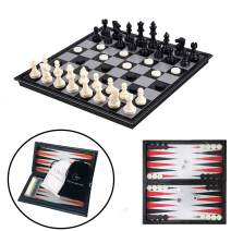 """Travel Chess Set for Kids and Adults, 3 in 1 Magnetic Chess Board for 3D Chess Checkers Backgammon Game Set and Folding Chess Board with Storage Bag, Traditional Portable Toys,9.8"""" x 9.8"""""""
