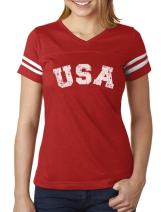 USA 4th of July Shirt for Women Patriotic Retro American Football Jersey Tshirt
