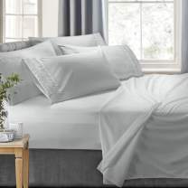 Clara Clark 6-Piece Bed Sheets - Luxury Pleated Sheets Set Bedding Sheet Set, 100% Soft Brushed Microfiber Flat Sheet, Fitted Sheet, Pillowcases Cool & Breathable - Full - Silver