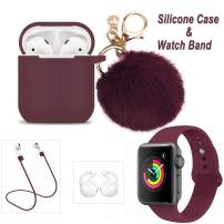 Airpods Case and iWatch Band - LitoDream 5 in 1 Case and Watch Band Compatible with Airpods Silicone Glittery Case Cover with Keychain/Strap for Airpod 2/1 and iWatch (Burgundy,42mm/44mm)